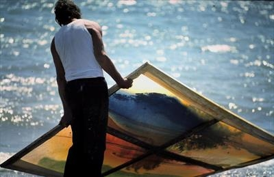 Sea painting in action