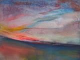 Avensac sunset June 2013 by Jeff Hoare, Painting, Acrylic on canvas
