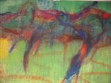 Horse trotters exercising: Bordevielle Beaumont 2012 by Jeff Hoare, Painting, Mixed Media